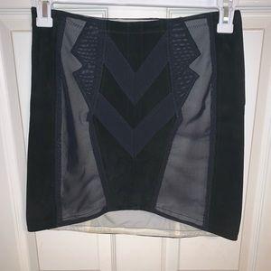 Rag & Bone Mesh and Suede Mini Skirt
